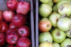 Spjällådor av röda och gröna äpplen royaltyfri fotografi