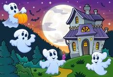 Spökat hustema 3 för spökar nära Arkivfoton