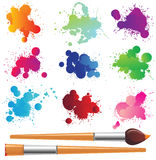 Splahses and paintbrushes. Hand drawn splahses and paintbrushes stock illustration