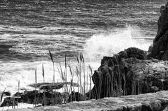 Splash. This is a splash of ocean against some rocks in black and white Royalty Free Stock Photos