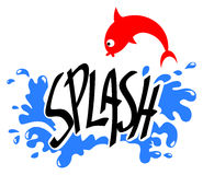 Splash. Vector drawing of the word splash of water with waves in the background and a red fish jumping Stock Photos