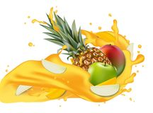 Splash of ananas juice. Mango, apple and pineapple. 3d realistic. Vector EPS 10. Packaging template. Brand advertising. Apple slices flowing in the splashing Royalty Free Stock Images