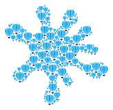 Spot Shape of Aerostat Icons. Splash area formed with aerostat elements in various sizes. Abstract vector blob illustration. Aerostat icons are organized into Royalty Free Stock Photos