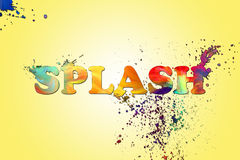 Splash art color effect with yellow radial gradient background Royalty Free Stock Images