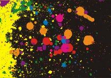 Splash background. Illustration of multi-colored paint splashes on black background Stock Photography