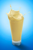 Splash of Banana Milkshake in A Glass Royalty Free Stock Photos