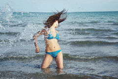 Splash at the beach Stock Photo
