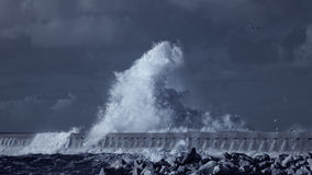 Splash of a big stormy ocean wave Stock Images