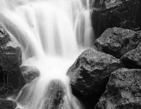 Splash on Black. Nice Contrast in Textures seen with Black and White longe exposure capture at ashgill falls cumbria, England Royalty Free Stock Photos