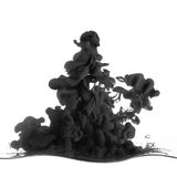Splash of black ink in dropped into the water. Isolated on white Royalty Free Stock Images