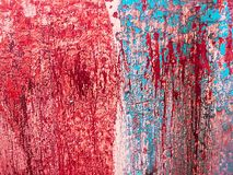 Mesh of Blue and Red Faded Paints. Splash of blue and red colors that are fading off a scratched wood background stock images