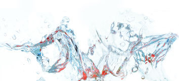 Splash. Blue and red water splash with freezing motion Royalty Free Stock Photo
