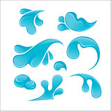 Splash of Blue Water Drops set. Liquid icons collection. Royalty Free Stock Images