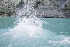 Splash on blue water. Sulak Canyon, Dagestan stock photo