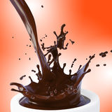 Splash of brown hot chocolate. In white cup stock illustration