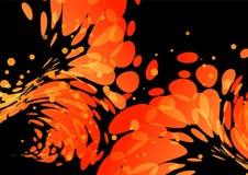 Splash burning drops on black. Splashing burning drops, orange elements on black background Stock Images