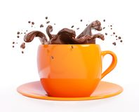 Splash of chocolate in cup 3d rendering Royalty Free Stock Photography