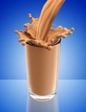 Splash of chocolate milk from the glass Royalty Free Stock Image