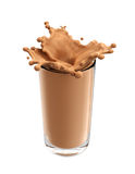 Splash of chocolate milk from the glass on isolated. White background. 3d rendering Royalty Free Stock Photo