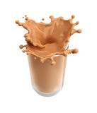 Splash of chocolate milk from the glass on isolated Stock Photo