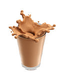 Splash of chocolate milk from the glass on isolated. White background. 3d rendering Stock Photography