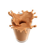 Splash of chocolate milk from the glass on isolated. White background. 3d rendering Stock Photo