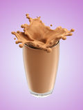 Splash of chocolate milk from the glass. Pink background. 3d rendering Royalty Free Stock Image