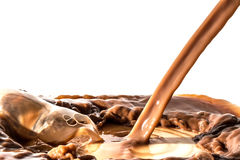 Splash of chocolate, pouring stream jet of chocolate, cocoa, isolated. Chocolate liquid splash, pouring stream jet of chocolate, cocoa, isolated on white royalty free stock image