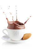 Splash of chocolate in white cup Stock Photos