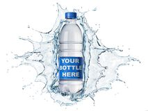 Splash of clear water with water bottle in the middle. Splash of clear water with pet water bottle in the middle. on white background. The bottle can be clipped royalty free illustration