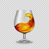 Splash cocktail, whiskey, brandy in a glass goblet, against the backdrop of transparency.Vector. Splash cocktail, whiskey, brandy in a glass goblet, against the vector illustration