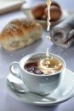 Splash Coffee breakfast. Breakfast Coffee Milk tea splash Stock Photography