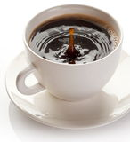 Splash in coffee cup. Royalty Free Stock Image