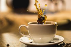 Splash in a coffee in a white cup stock photography