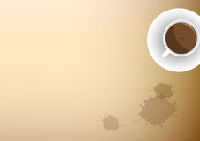 Splash coffee on old paper with Coffee cup Royalty Free Stock Photo
