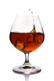 Splash of cognac in glass Stock Images