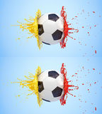 Splash - colored paint - soccer ball Royalty Free Stock Photo