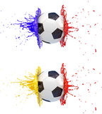 Splash - colored paint - soccer ball Stock Photo