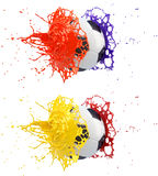 Splash - colored paint - soccer ball Stock Images