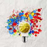 Splash colors lightbulb crumpled paper Royalty Free Stock Image