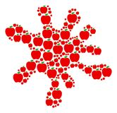 Blot Shape of Apple Icons. Splash composition made of apple objects in various sizes. Abstract vector splatter concept. Apple icons are grouped into spot area Stock Photo