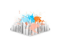 Splash on 3d Buildings Royalty Free Stock Photo