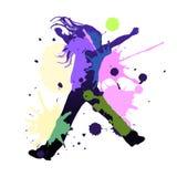 Splash dance. Happy young girl dancing in splash colors, vector illustration Stock Images