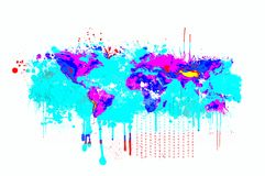 Splash dripping world map in blue and magenta colors. Basic image of Earth courtesy NASA. Stock Photo