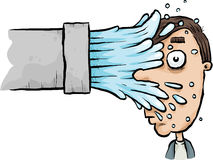 Splash Face. Water sprays from a cartoon pipe into a man's face stock illustration