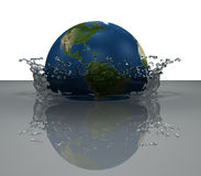 Splash from the falling globe Royalty Free Stock Image