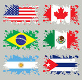 Splash flags set America. Each flag in separated layer, without gradients and transparencies royalty free illustration