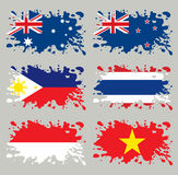 Splash flags set Australasian Royalty Free Stock Images
