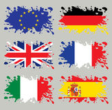 Splash flags set Europe Royalty Free Stock Photos