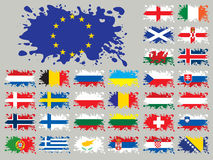 Splash flags set Europe two. Each flag is one group, without gradients and transparencies royalty free illustration